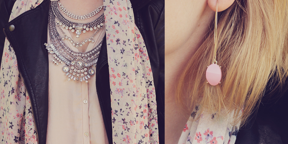 crystal statement necklace and pink drop earrings