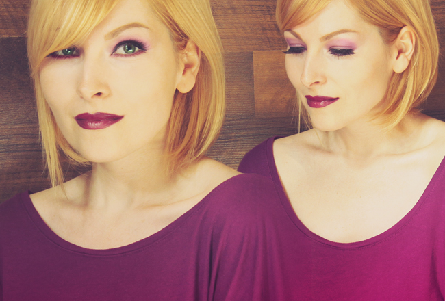 electric purple look and make-up