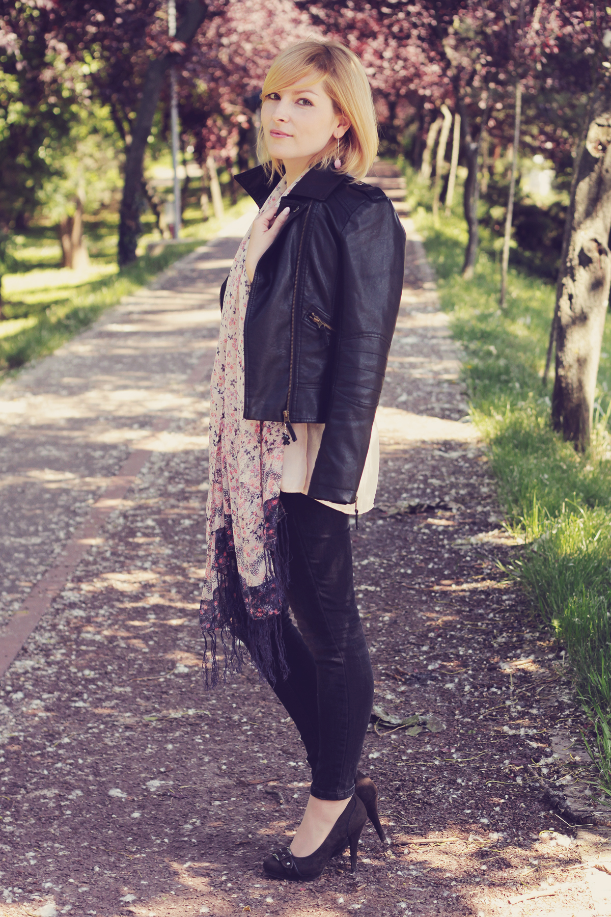 faux leather jacket and pumps