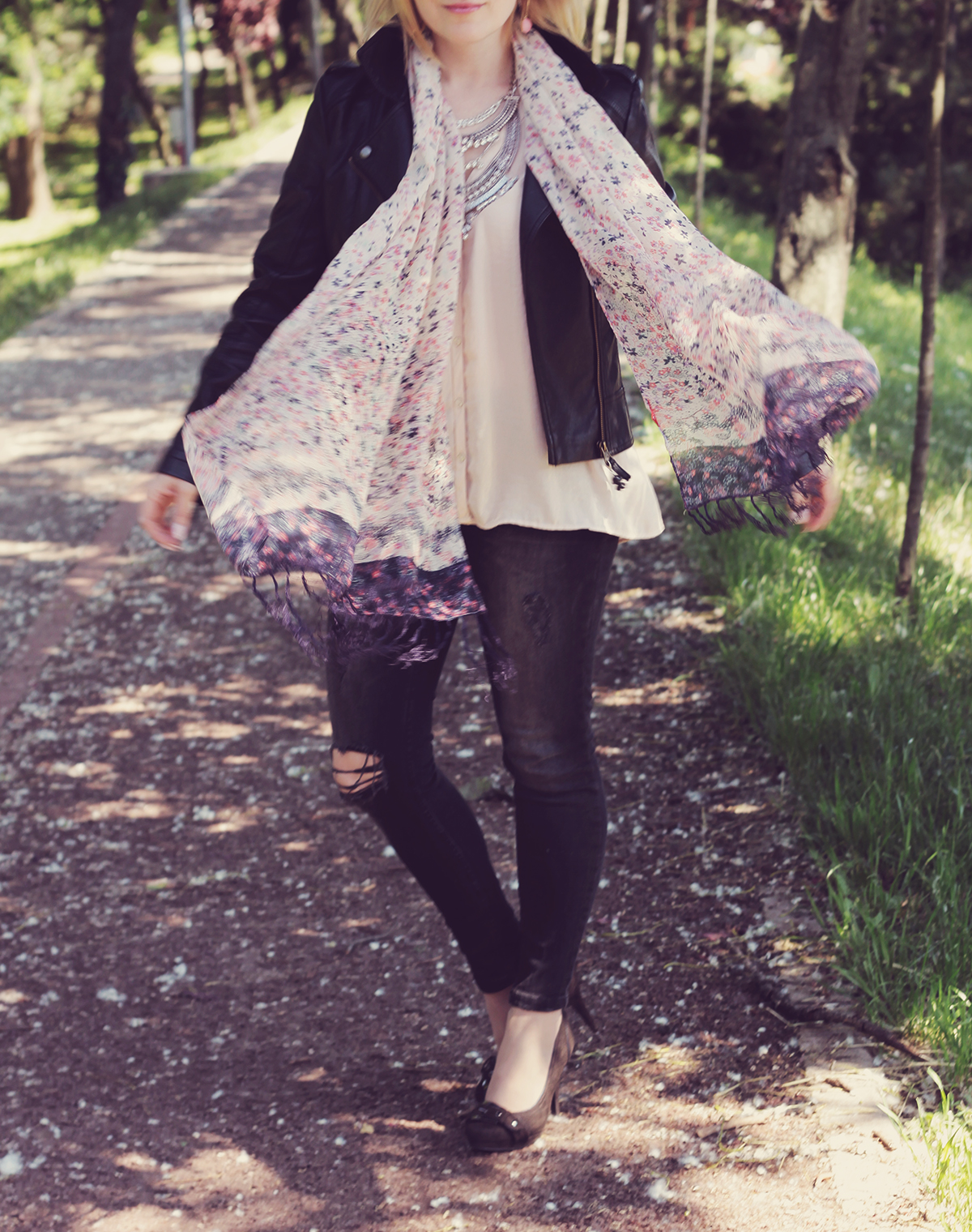 flowy floral scarf