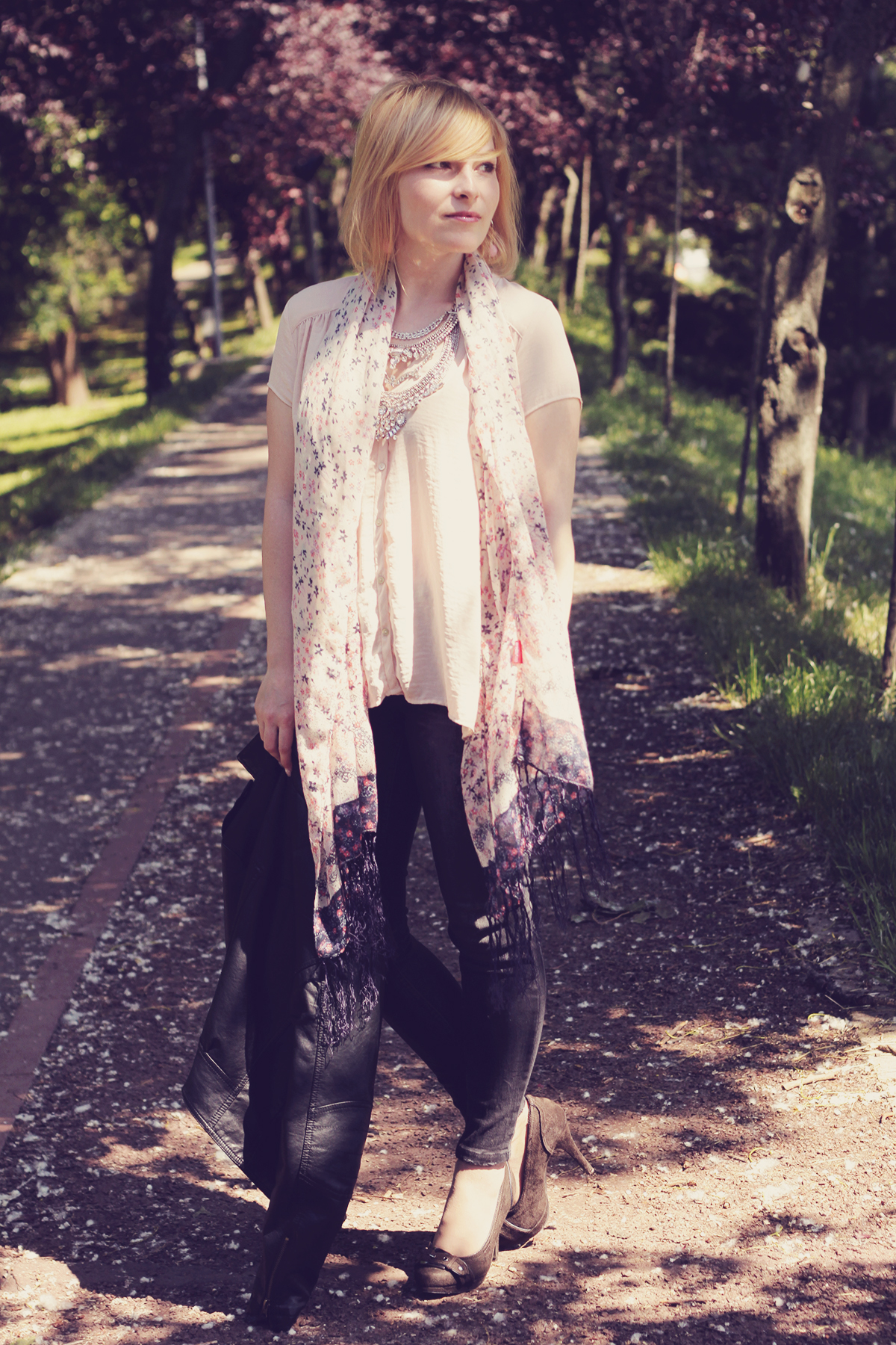 muted pink scarf and top
