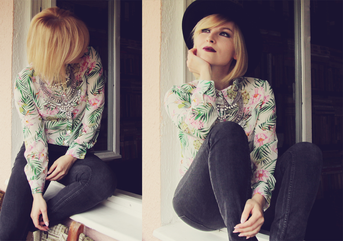 the statement necklace and pattern shirt