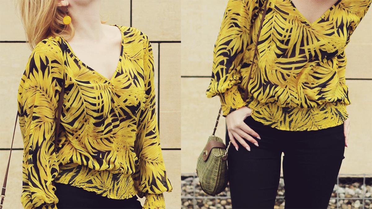 yellow pattern chiffon blouse