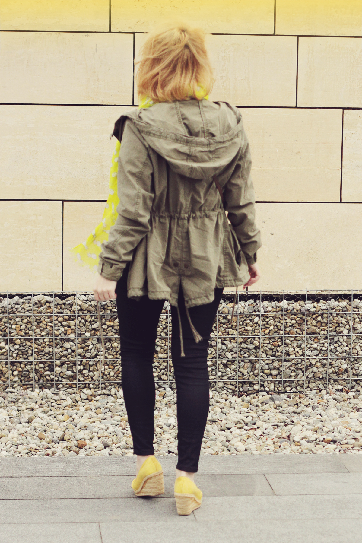yellow wedges and parka