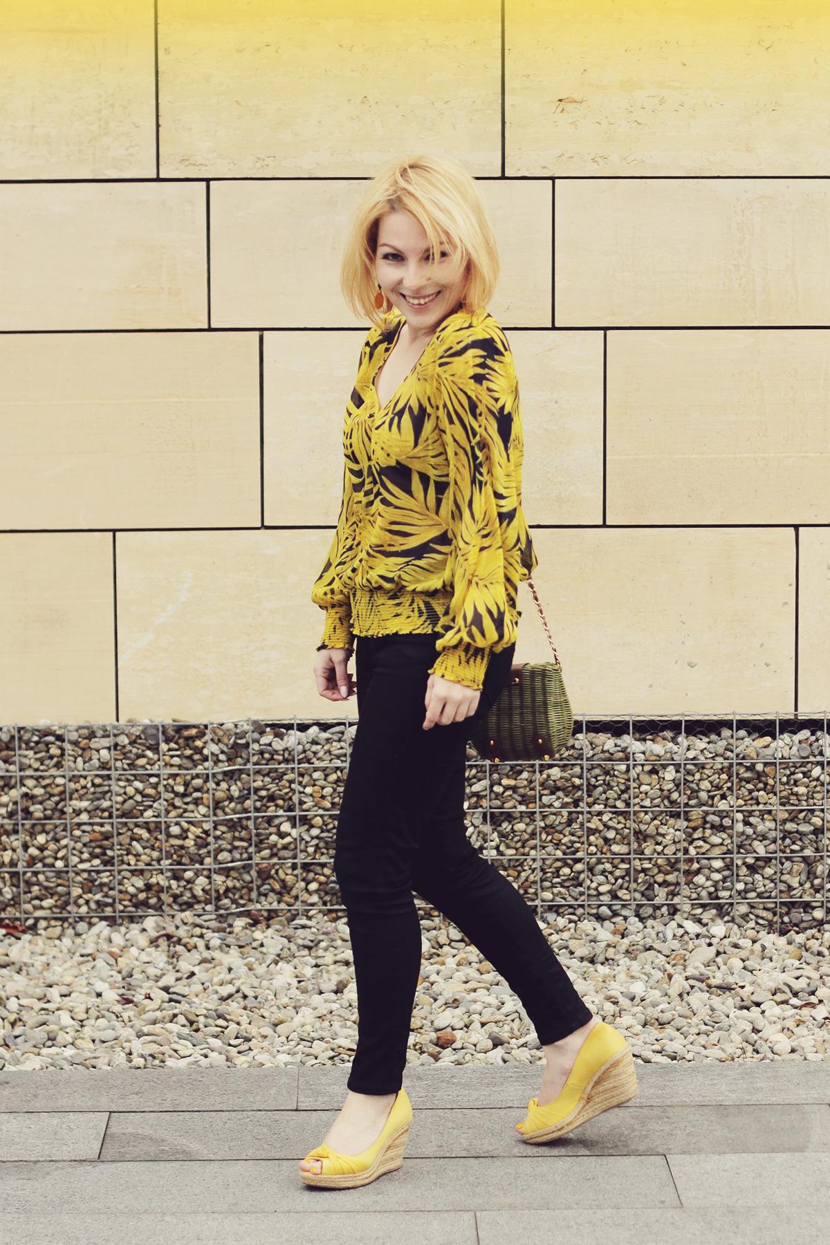 yellow wedges and yellow chiffon pattern blouse