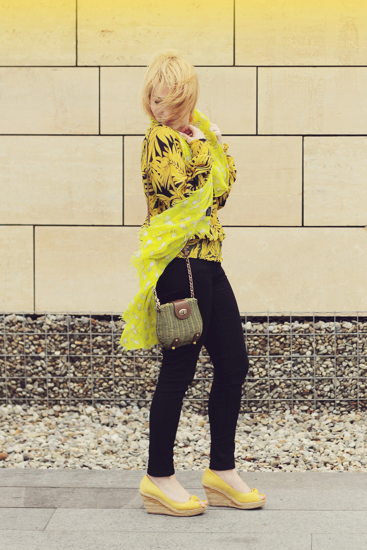 yellow wedges yellow blouse and scarf