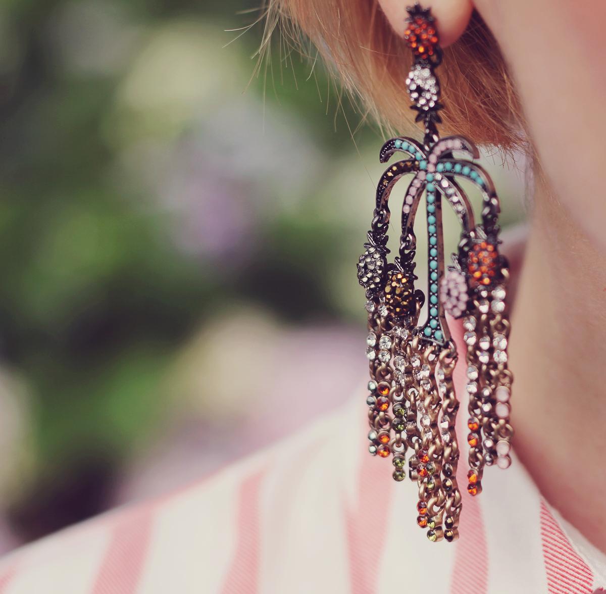 pineapple colorful chandelier earrings