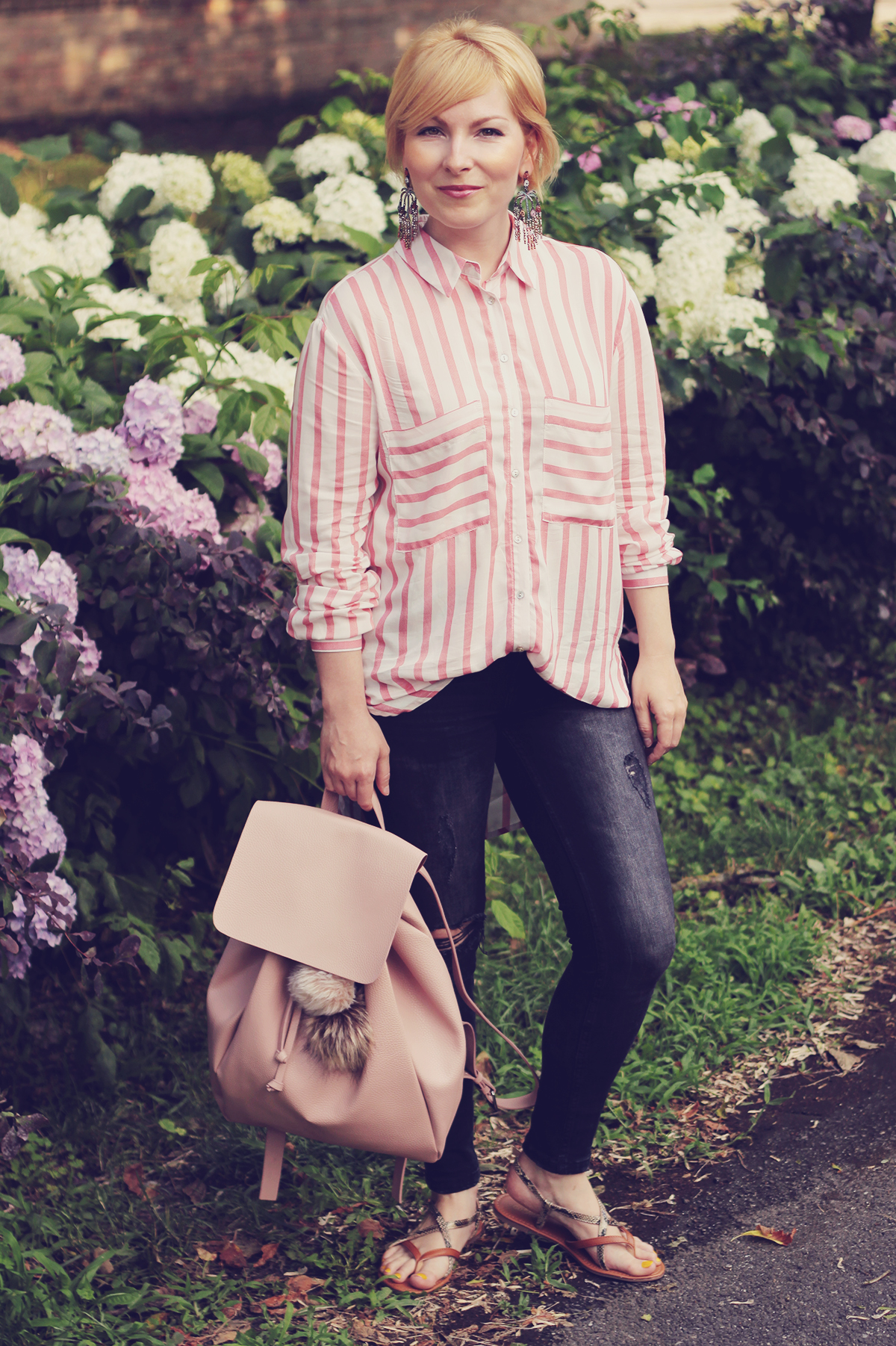 pink backpack and pink stripe shirt