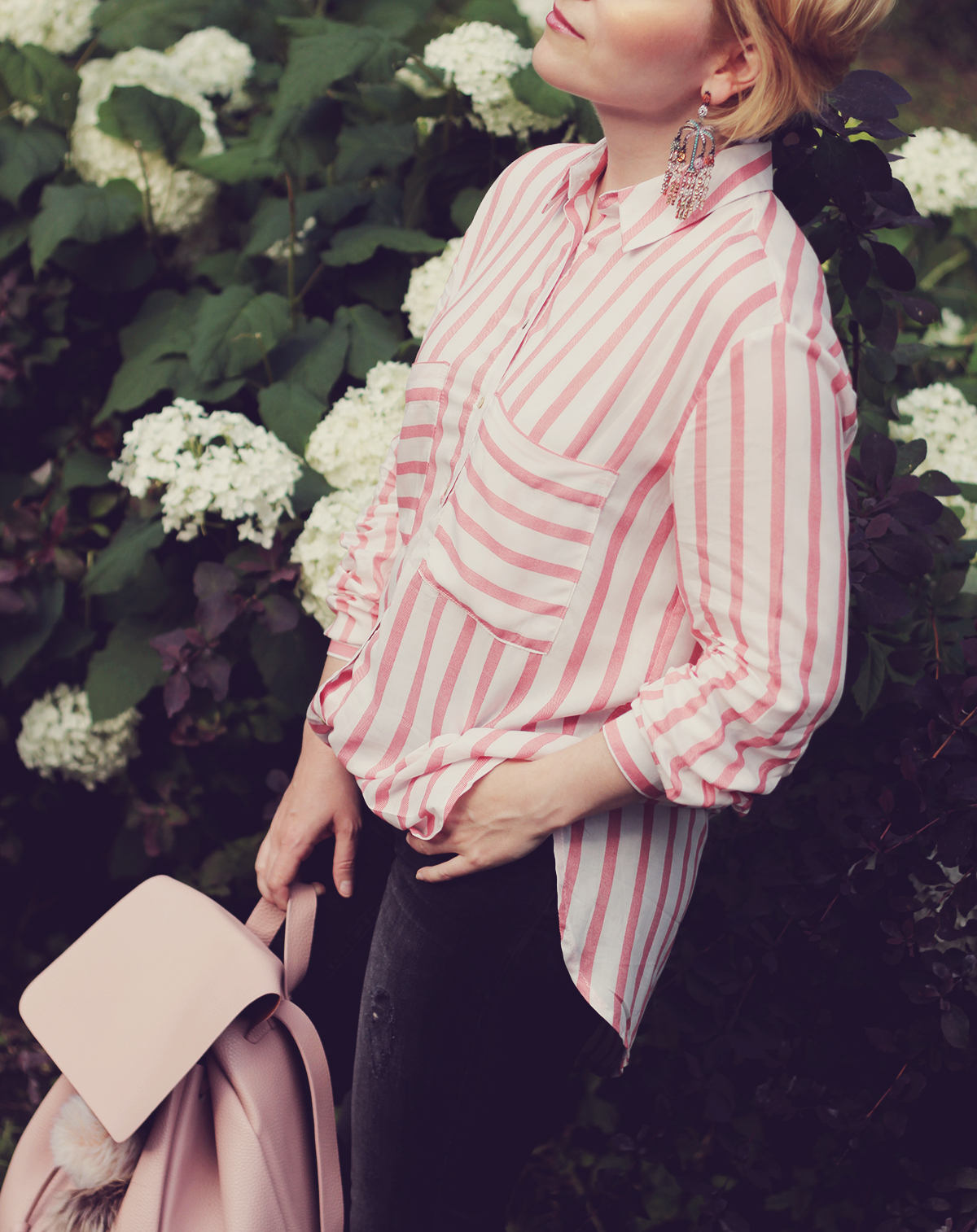 pink stripe shirt and pink backpack