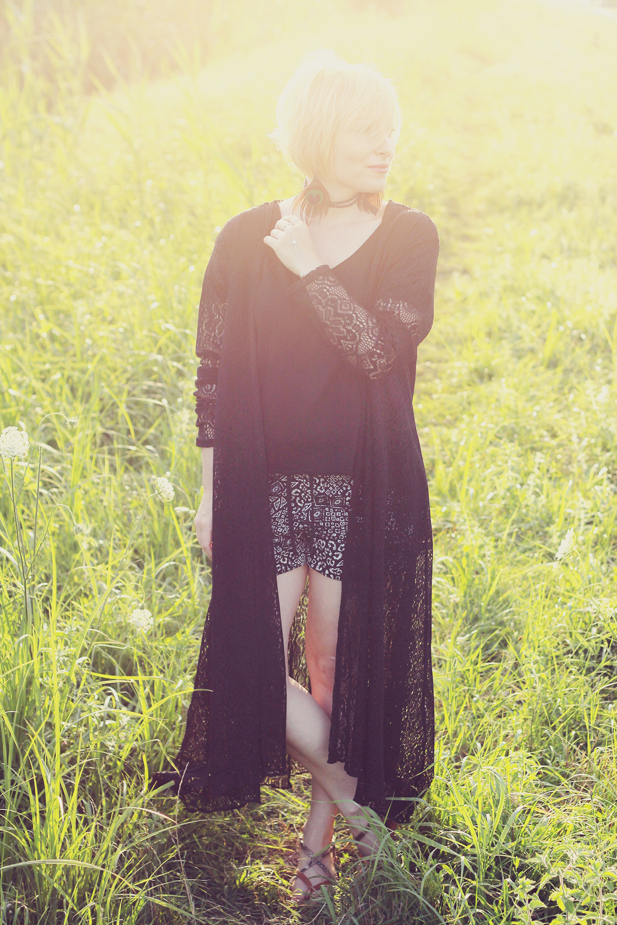 black lace long kimono and shorts