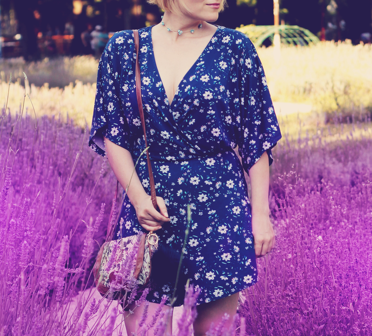 blue floral romper and choker in lavender
