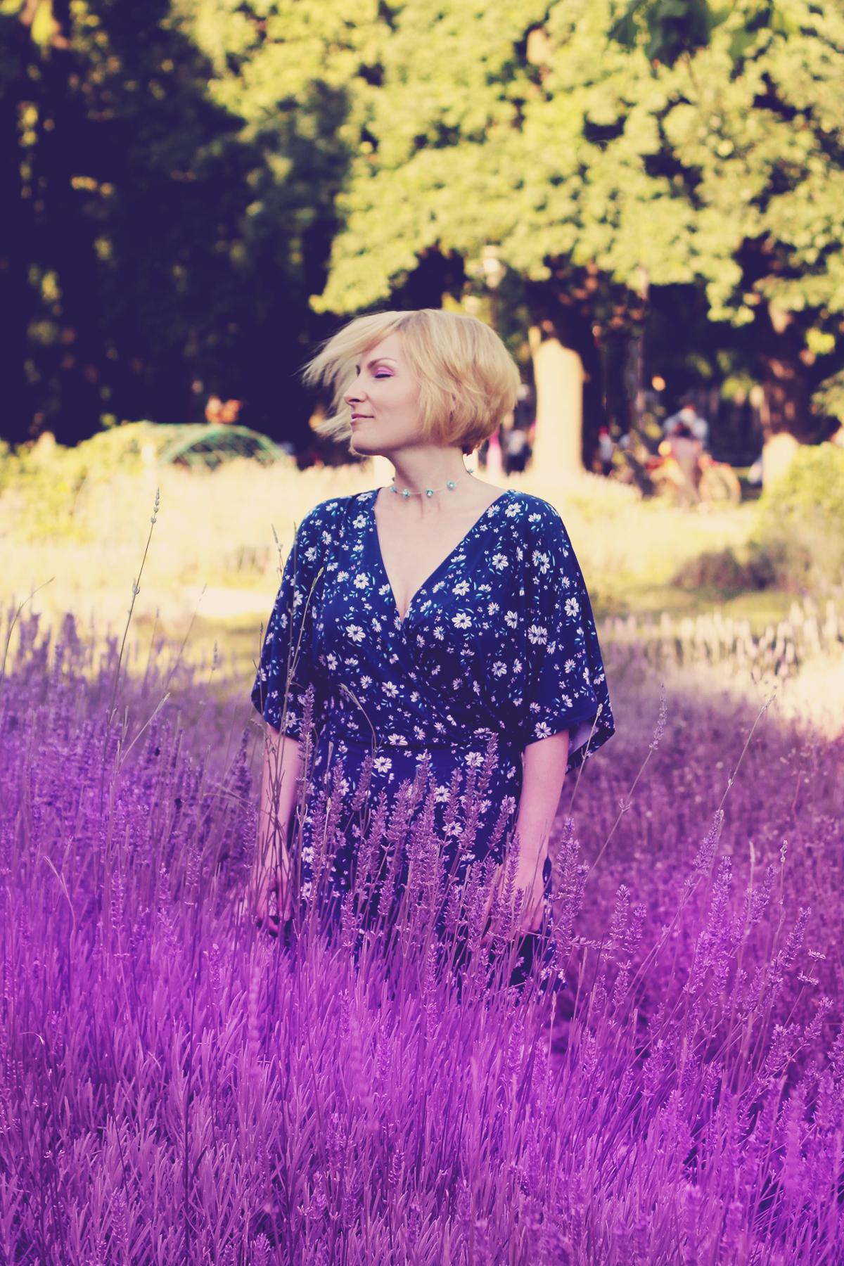 blue floral romper in lavender