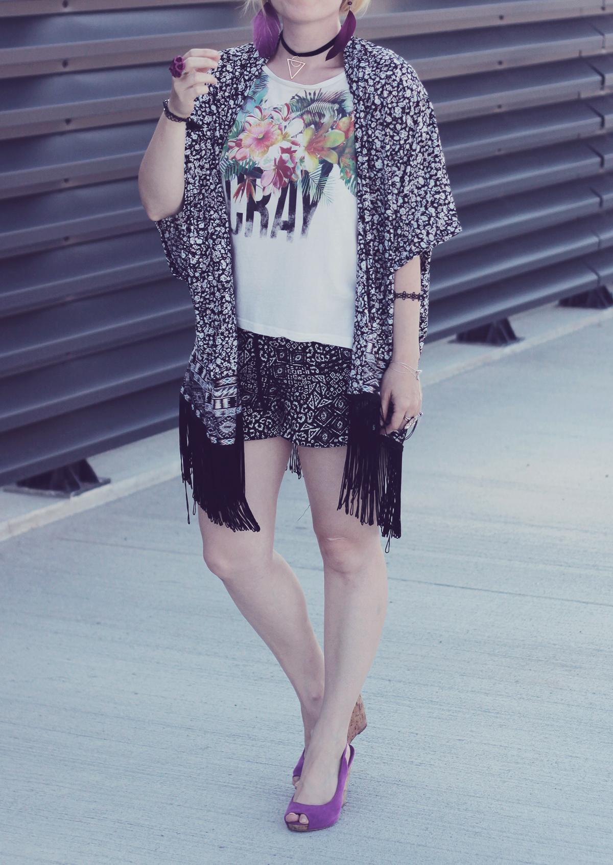 floral t-shirt and kimono