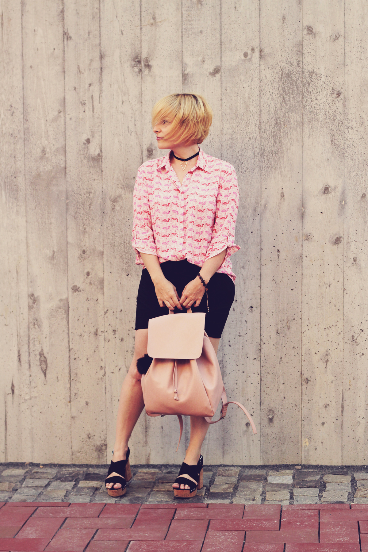pink flamingo shirt and backpack with skirt