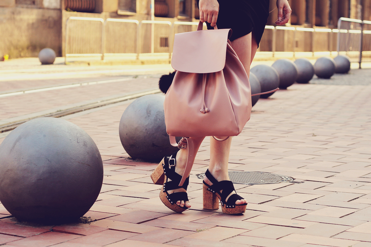 retro platforms and pink backpack