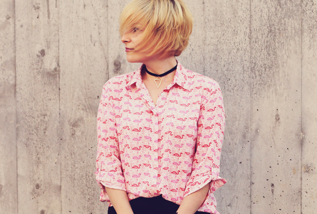 stradivarius pink flamingo shirt