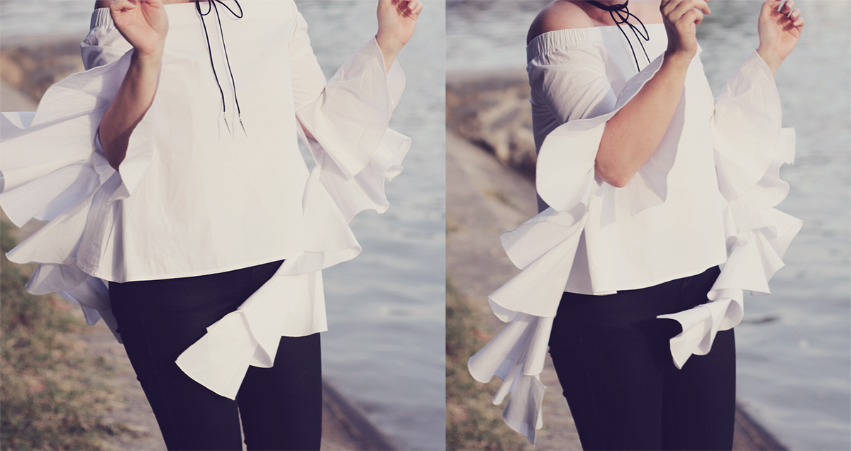 zaful flare sleeve blouse and wrap choker