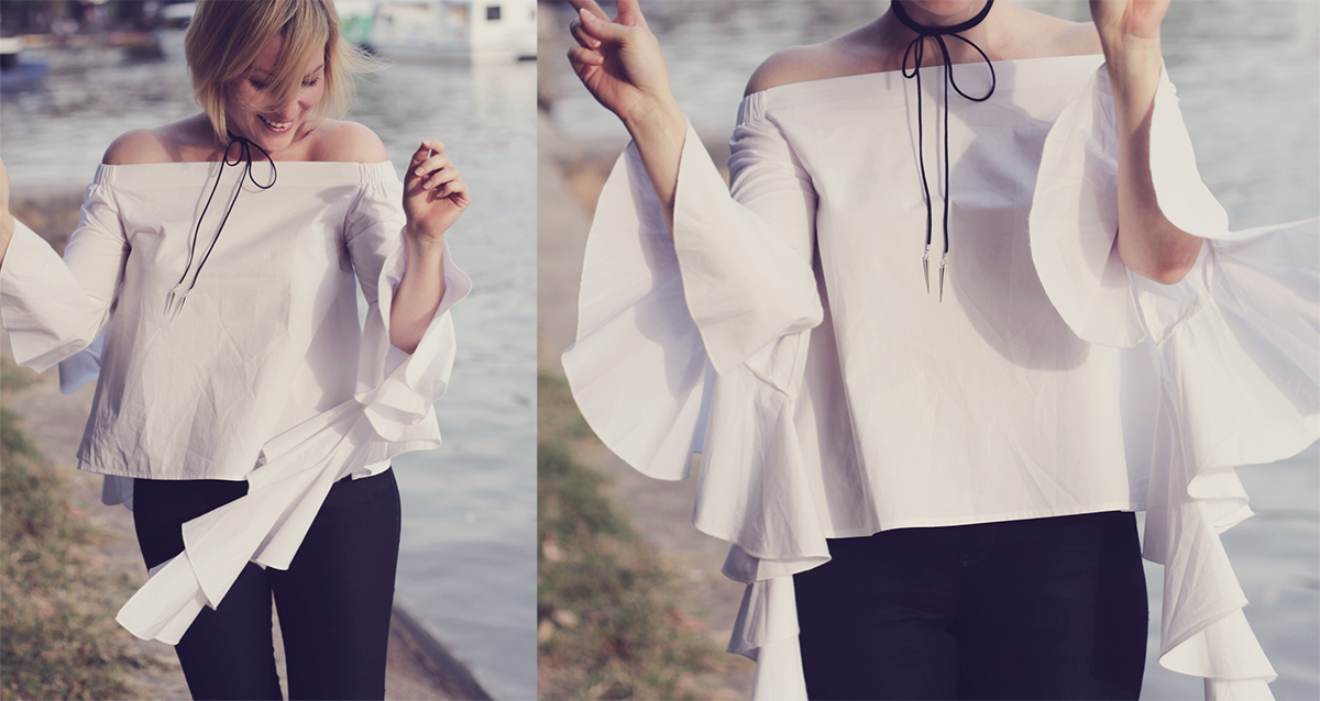 zaful off the shoulder blouse and wrap choker