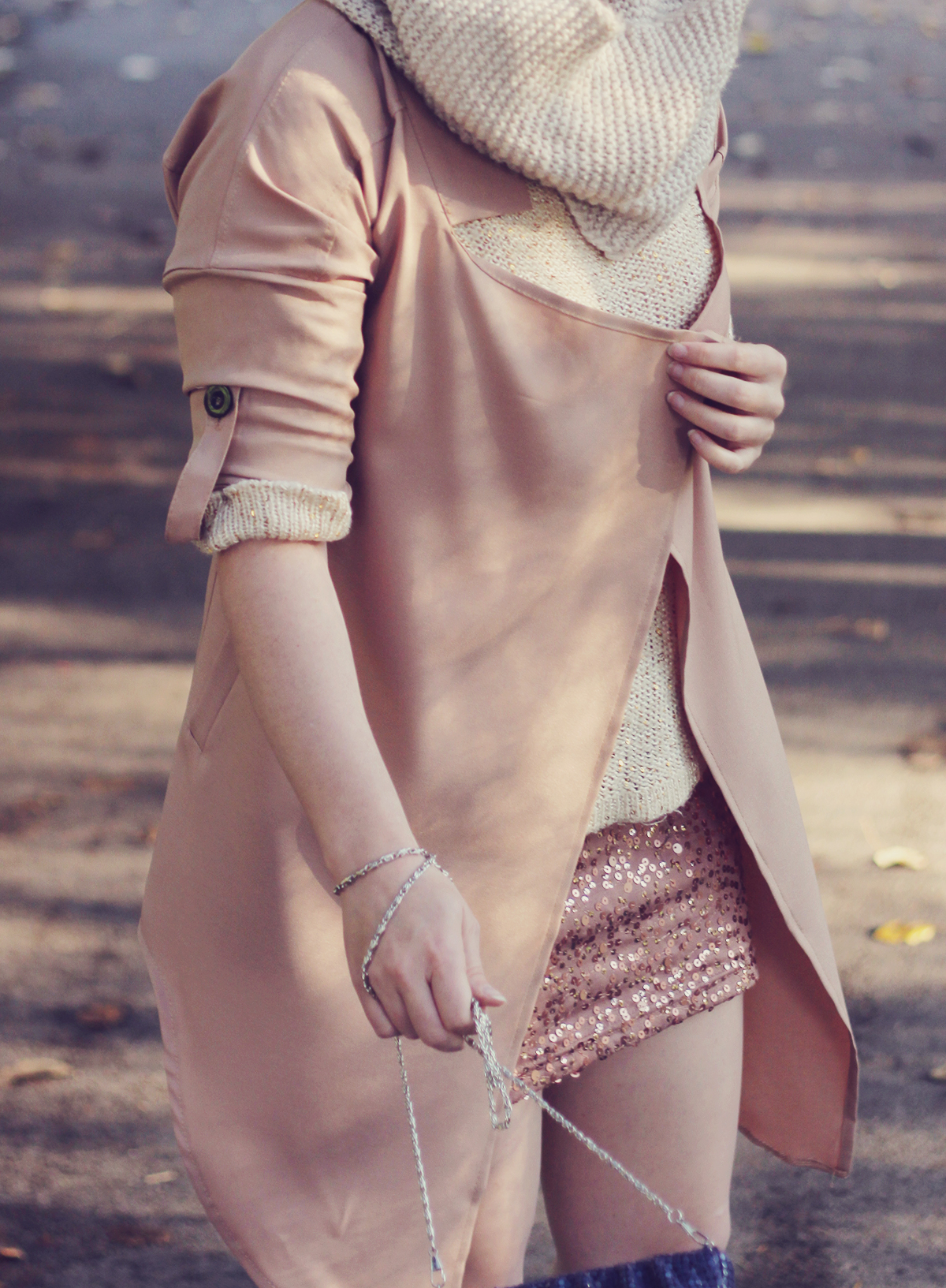 zaful-nude-trench-coat-and-sparkly-knits