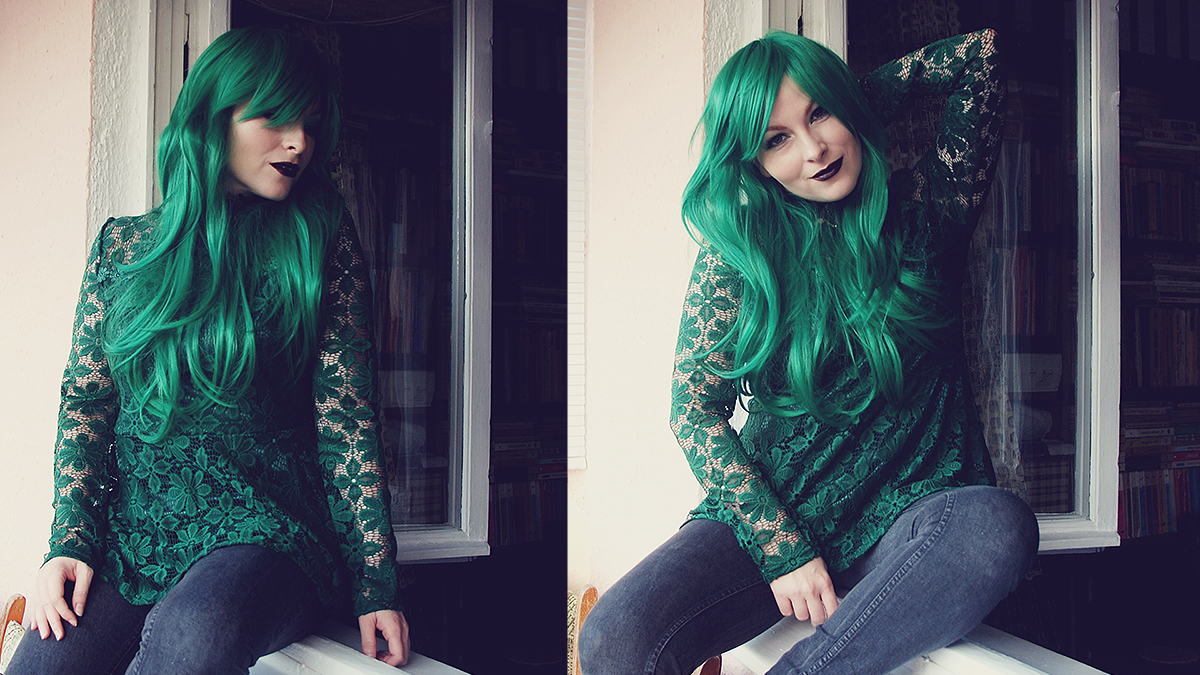 dresslily-emerald-green-lace-blouse-and-emerald-wig