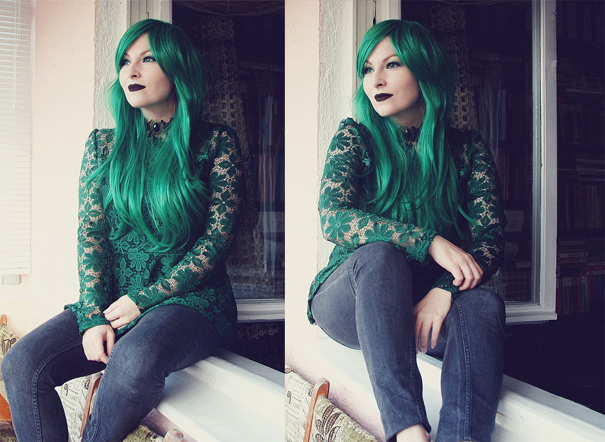 dresslily-emerald-green-lace-blouse-and-wig