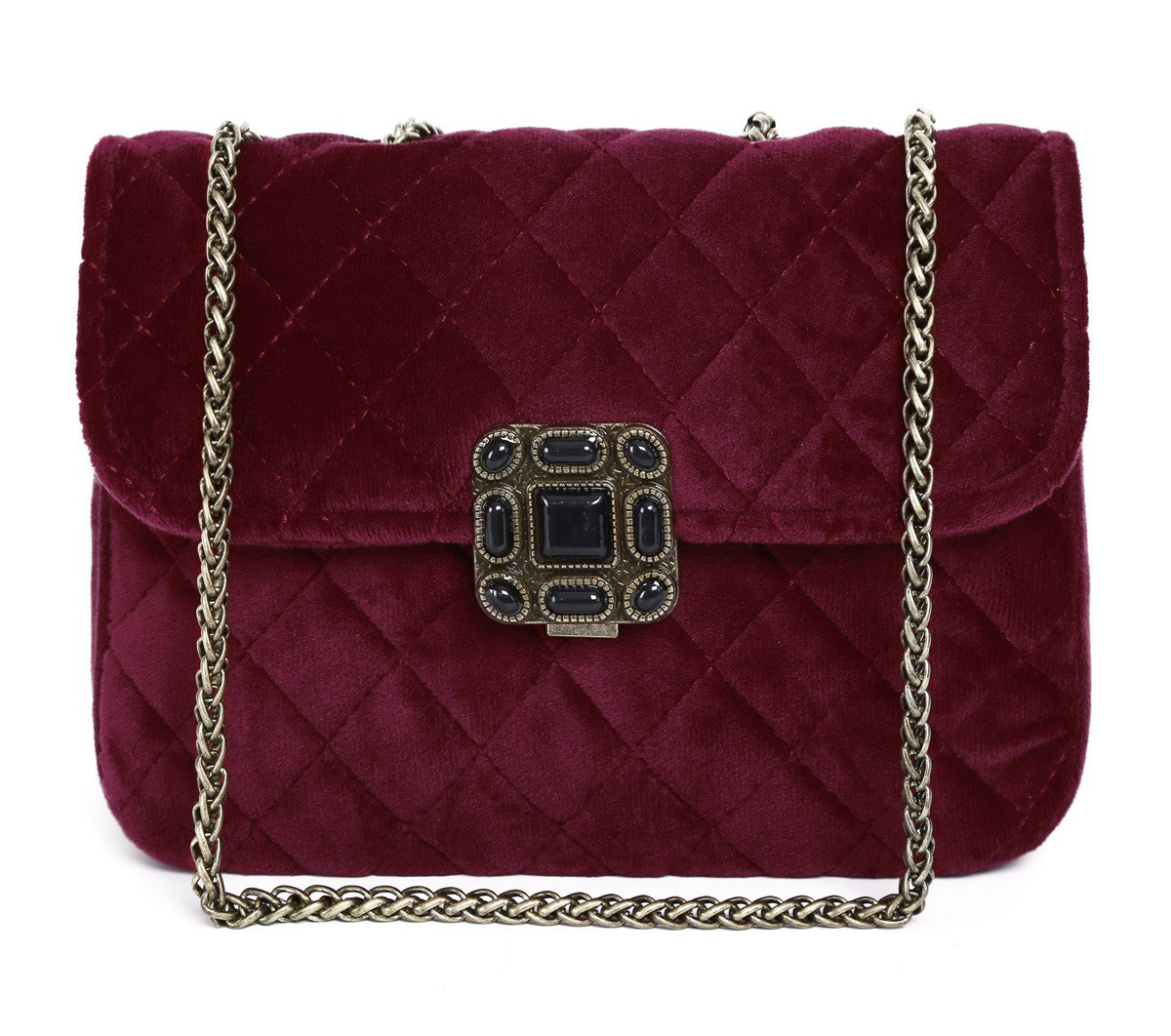 zaful-velour-quilted-chain-bag