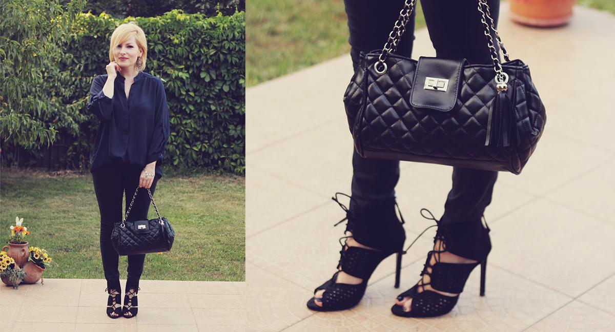 black chevron shoulder bag and zara heels