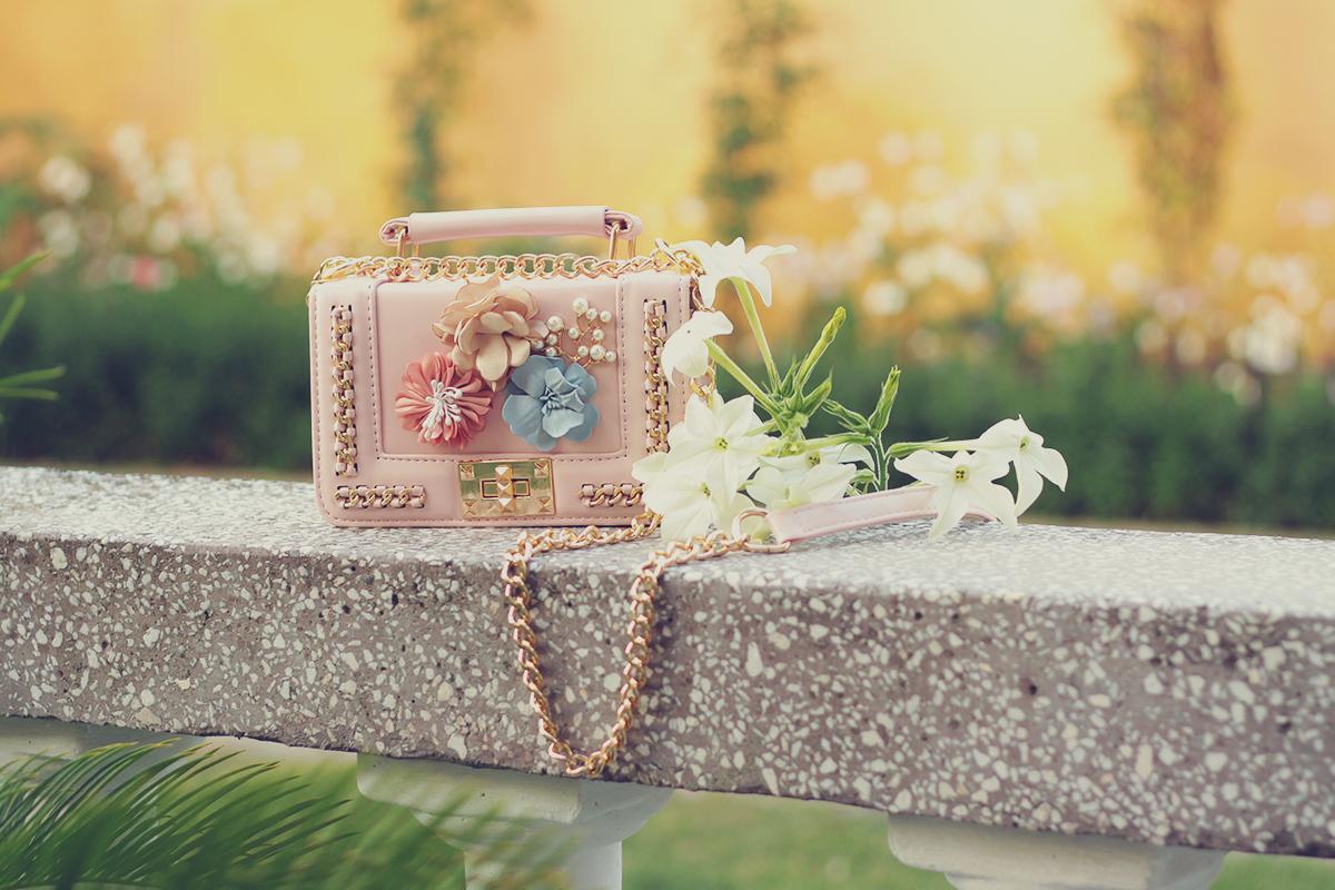 pink shoulder bag with flowers
