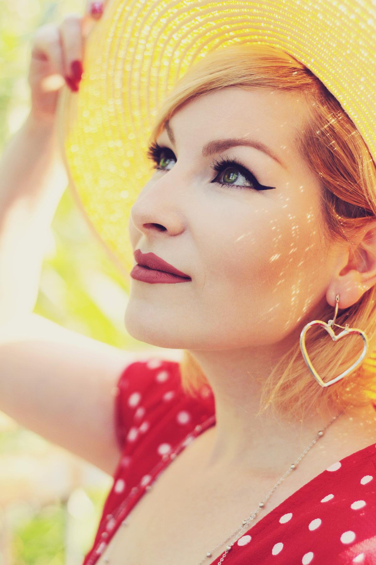 heart earrings, make-up, matte lips, polka dot dress