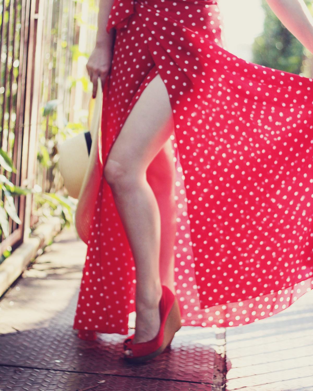red maxi polka dot dress, red platforms, summer, high slit