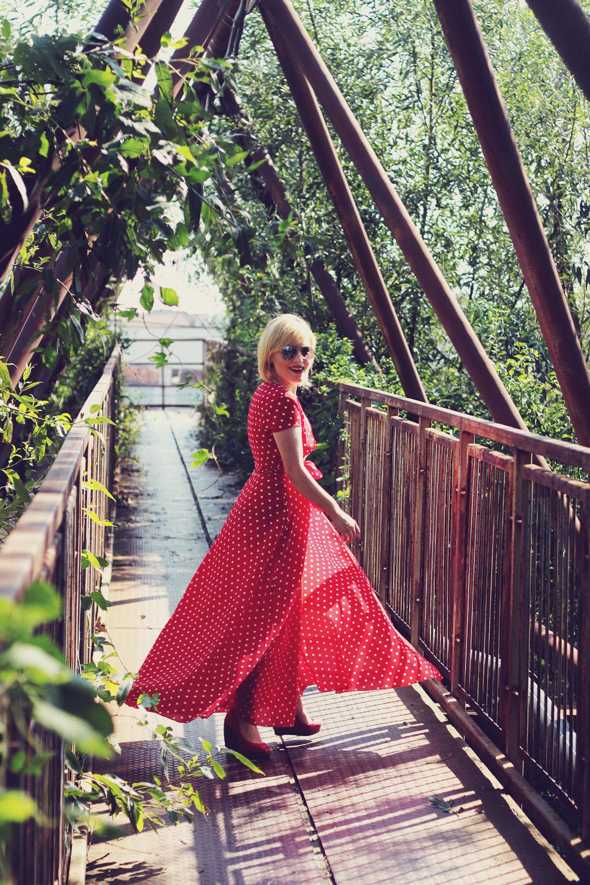 red polka dot maxi dress, red platforms, summer