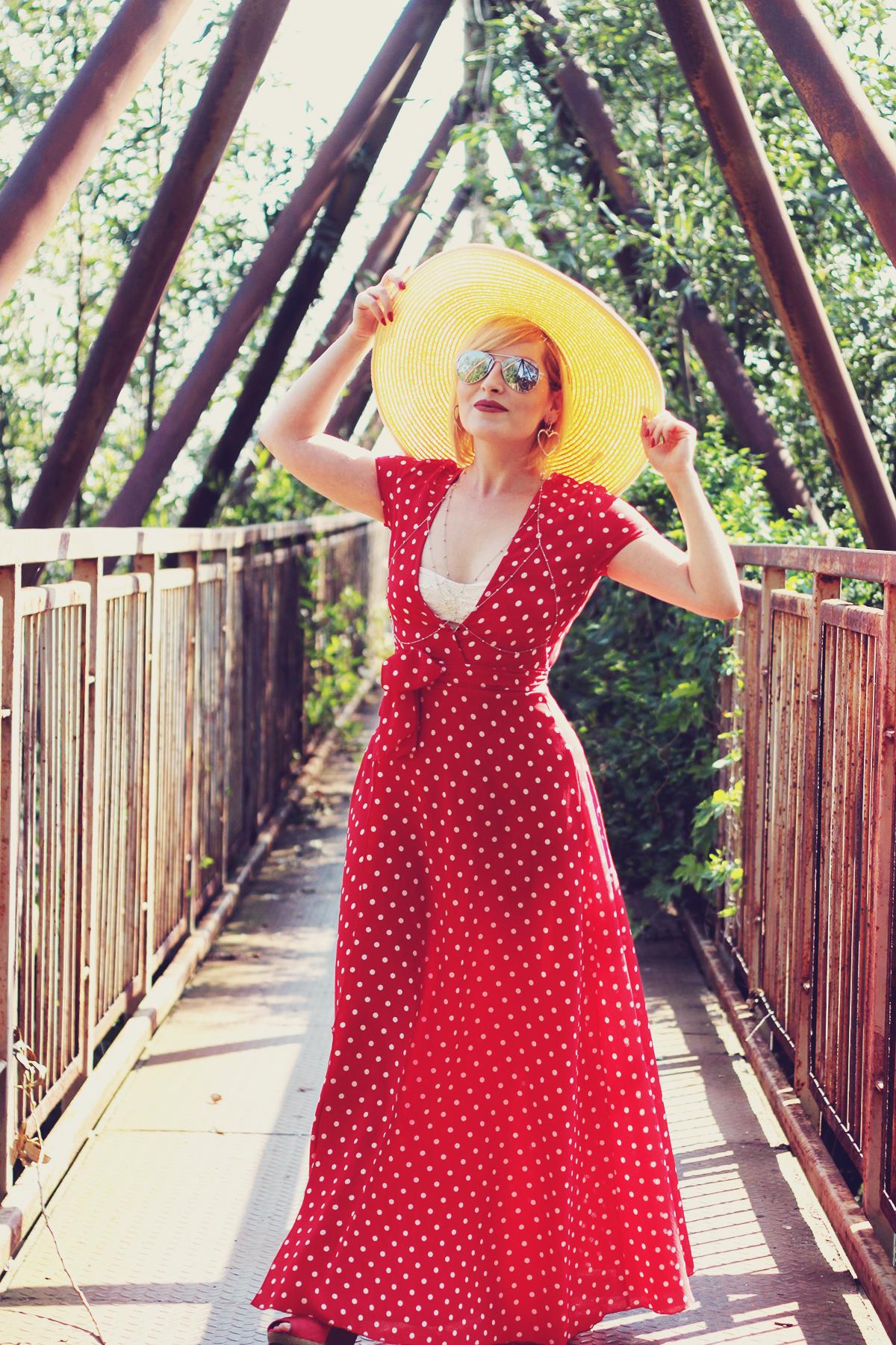 red maxi polka dot dress, body chain, straw hat, asymmetric heart earrings, summer