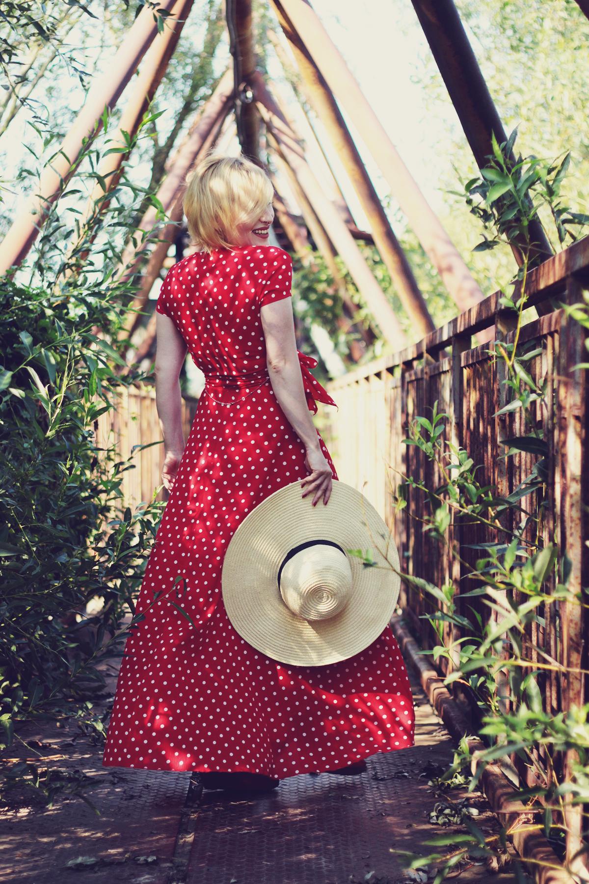 red polka dot maxi dress, straw hat, summer