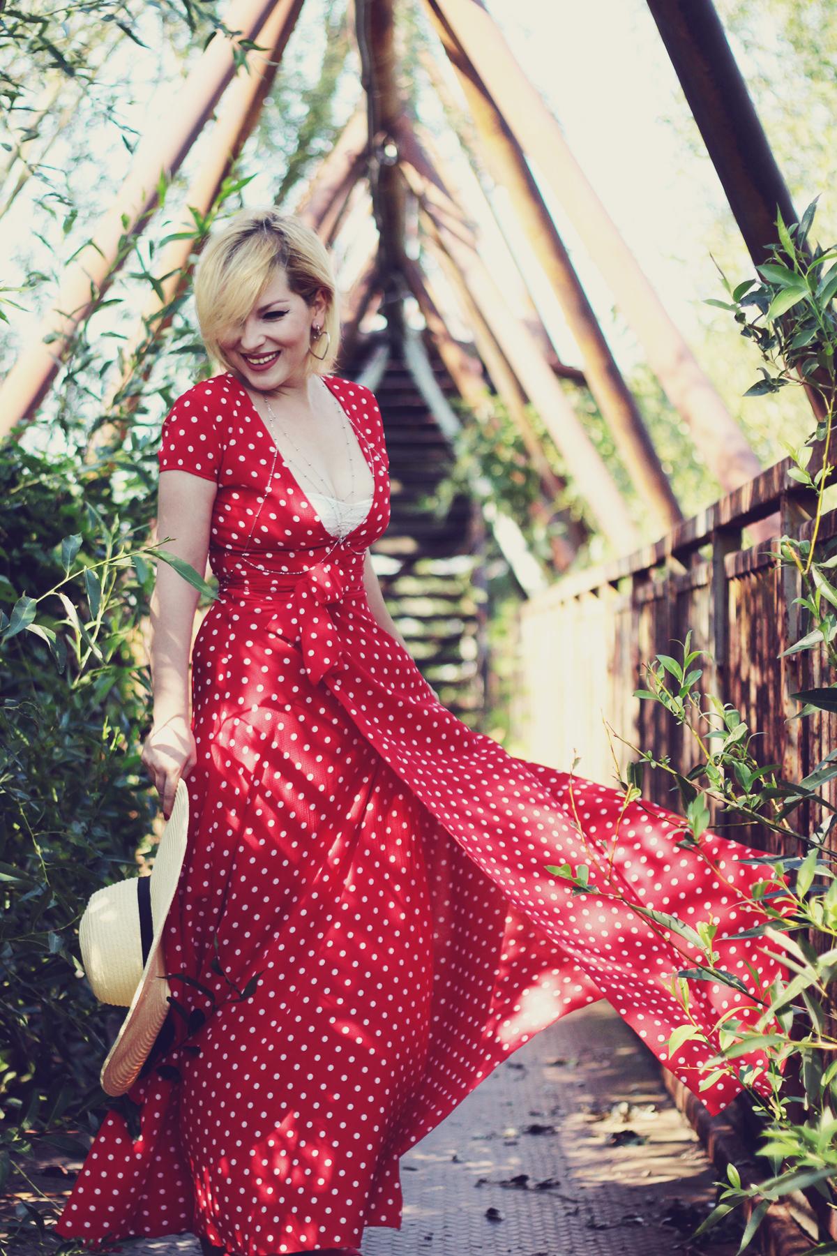 red polka dot maxi dress, summer, straw hat, body chain