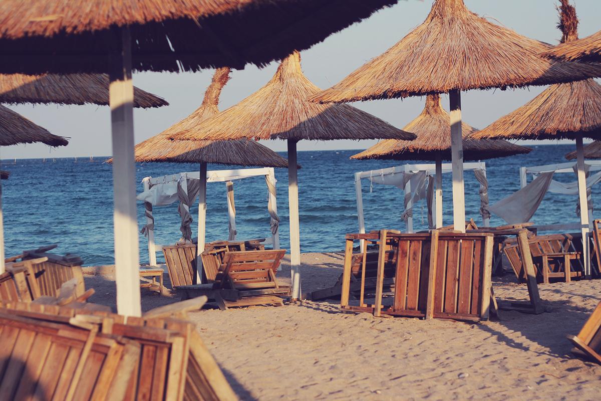 vama veche, beach, sunset, umbrellas