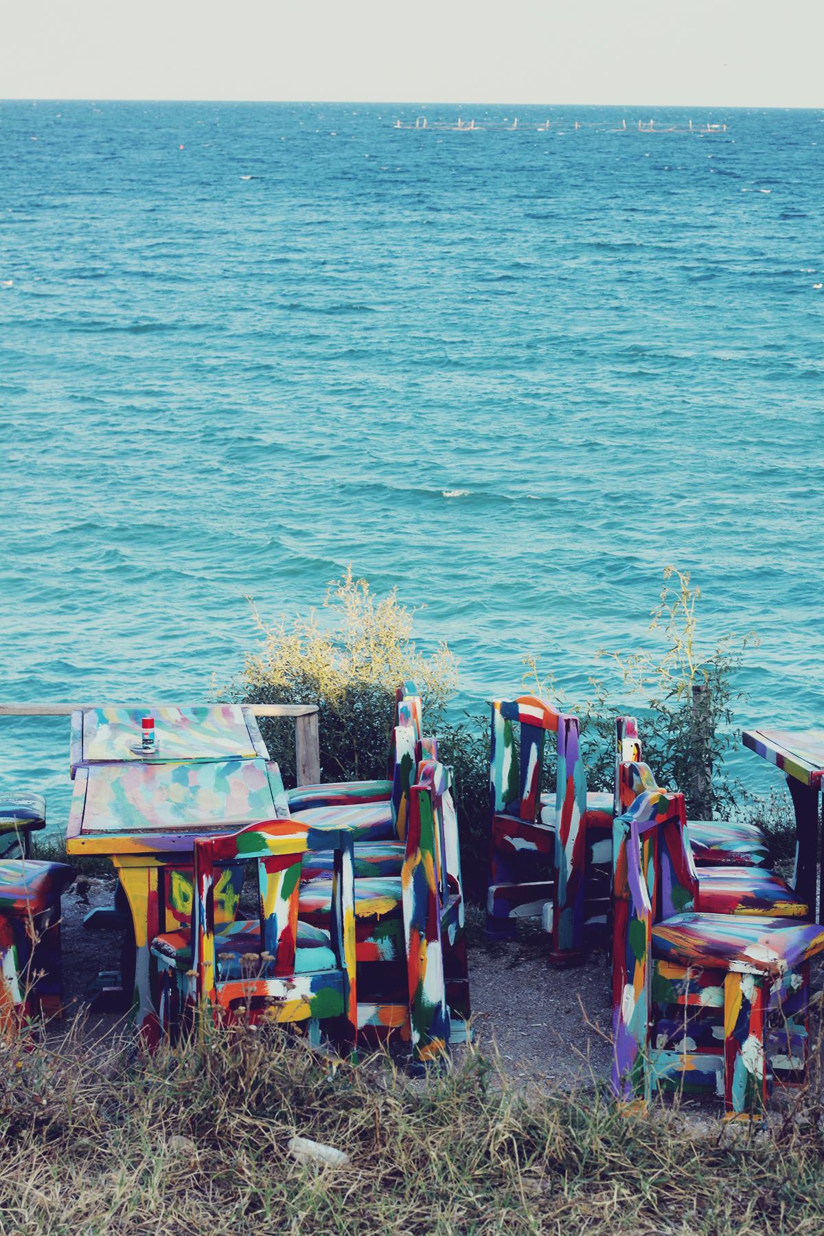 the black sea, vama veche, colorful tables