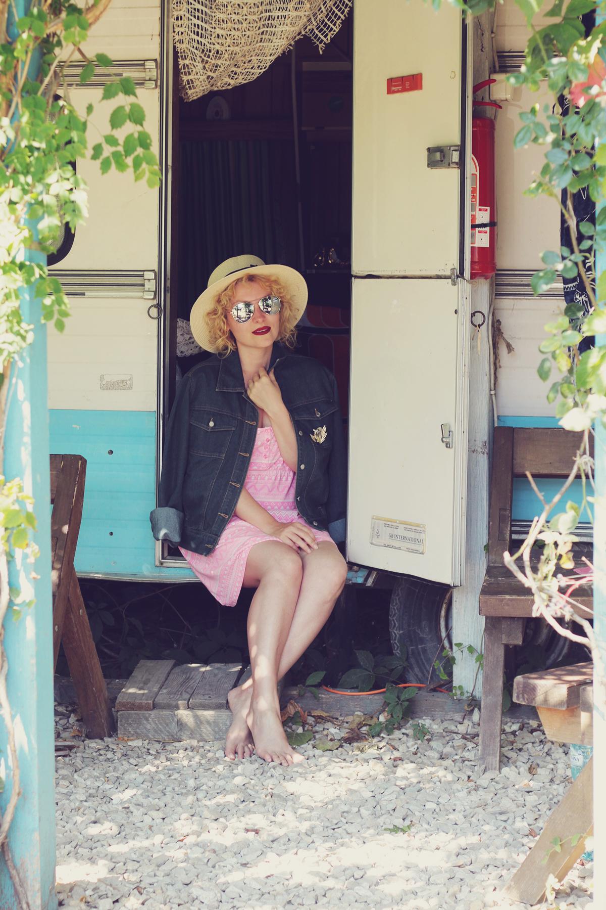 la rulote, pink dress and denim jacket, straw hat, sunglasses