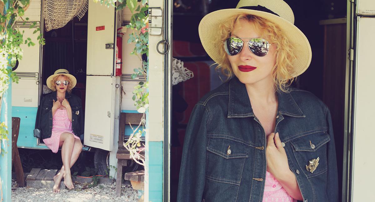 matte lips, straw hat, la rulote, pink dress, denim jacket, sunglasses