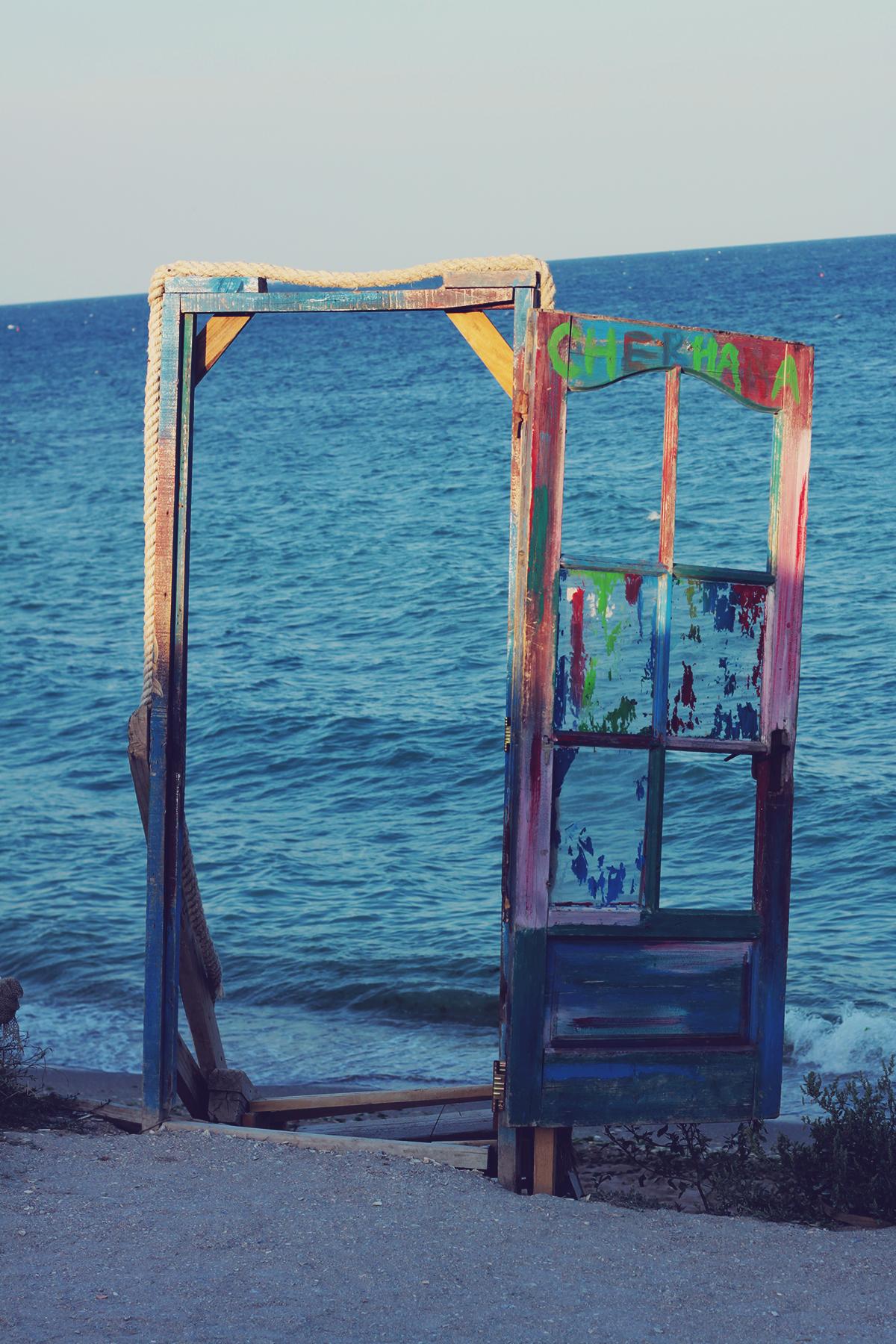 door, the black sea, vama veche, sunset
