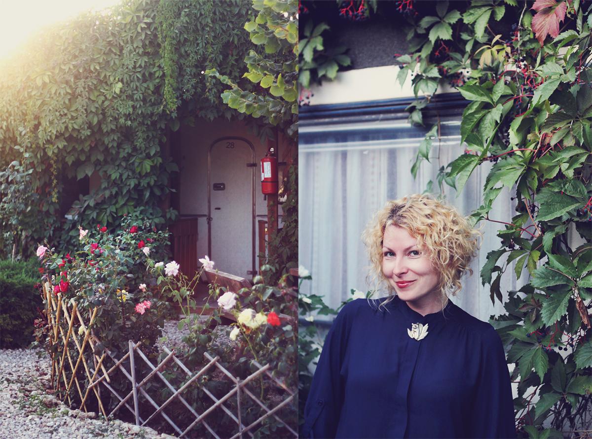 la rulote, curly blonde hair, kenzo vintage brooch, rose garden