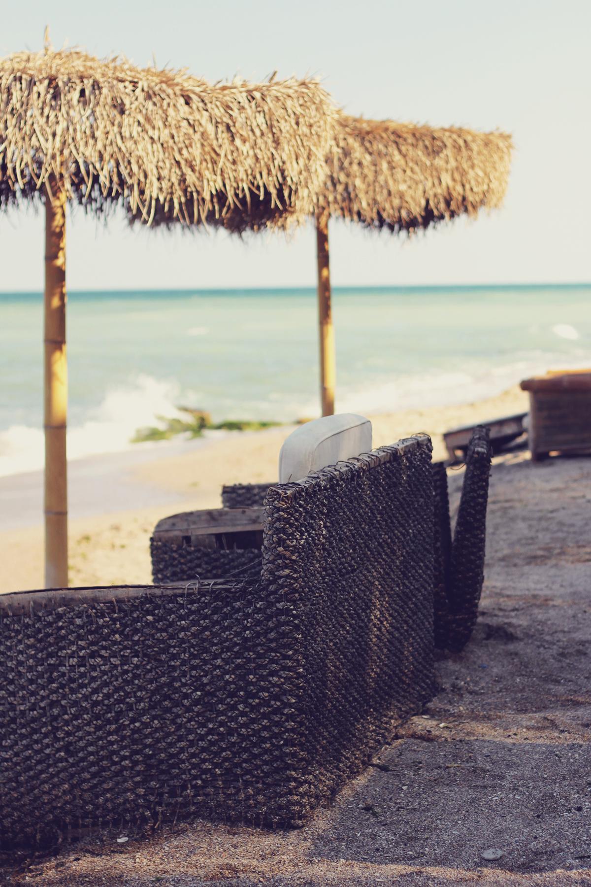 couch and umbrellas, vama veche, beach