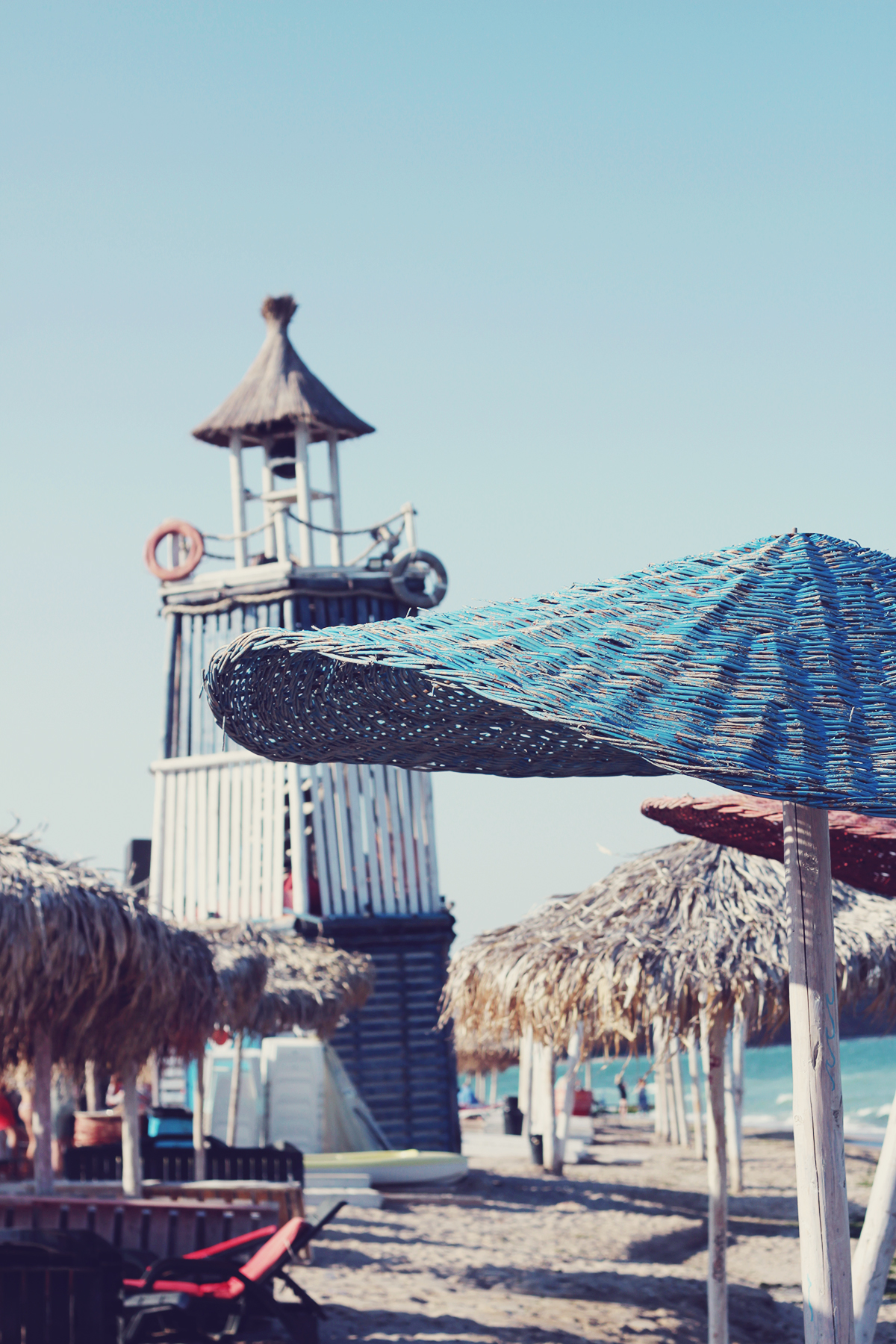 beach, vama veche, straw umbrella