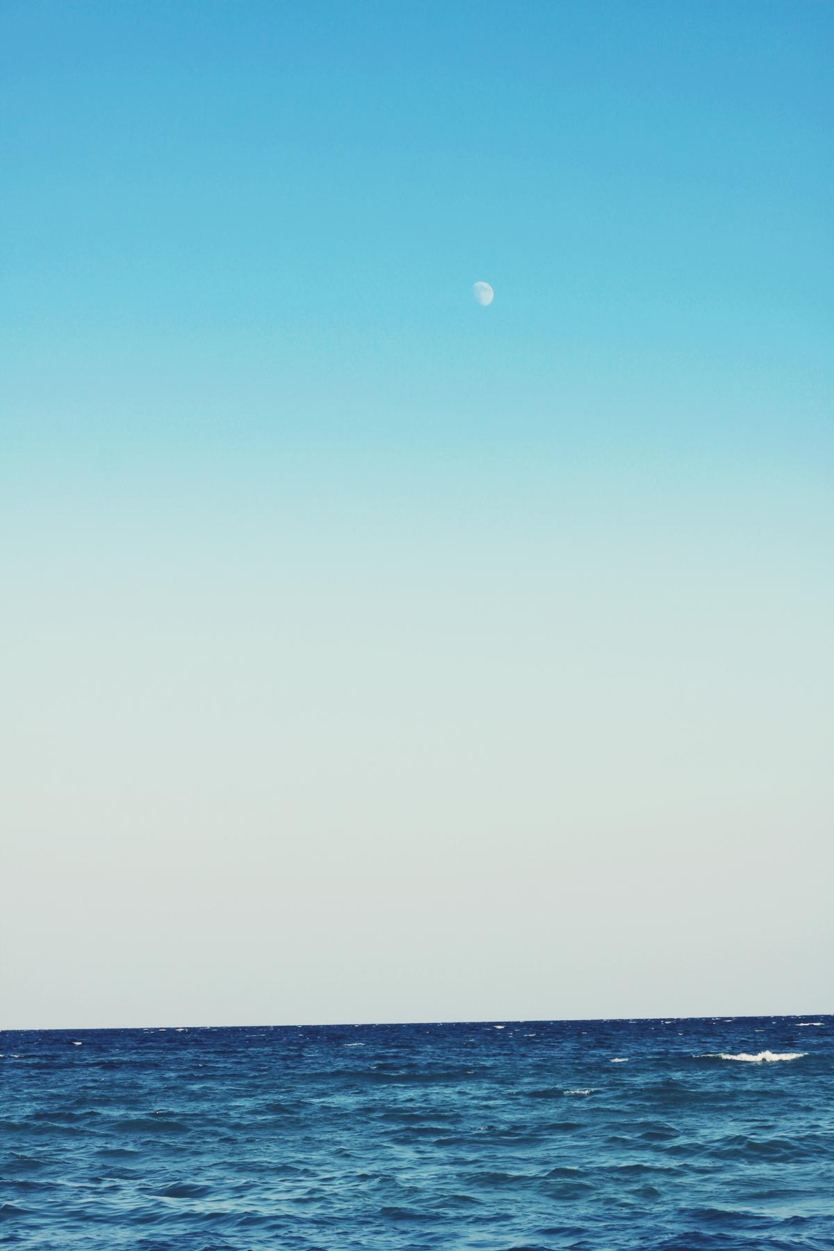 moon, sunset, the black sea, vama veche