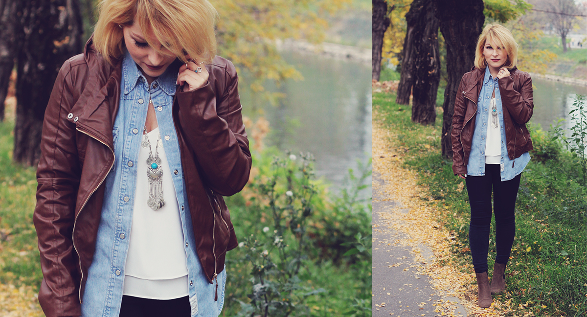 autumn bohemian chic, denim shirt, white top, bohemian necklace, bohemian rings, temporary tattoos, jeans, matte lips, leather jacket, boots