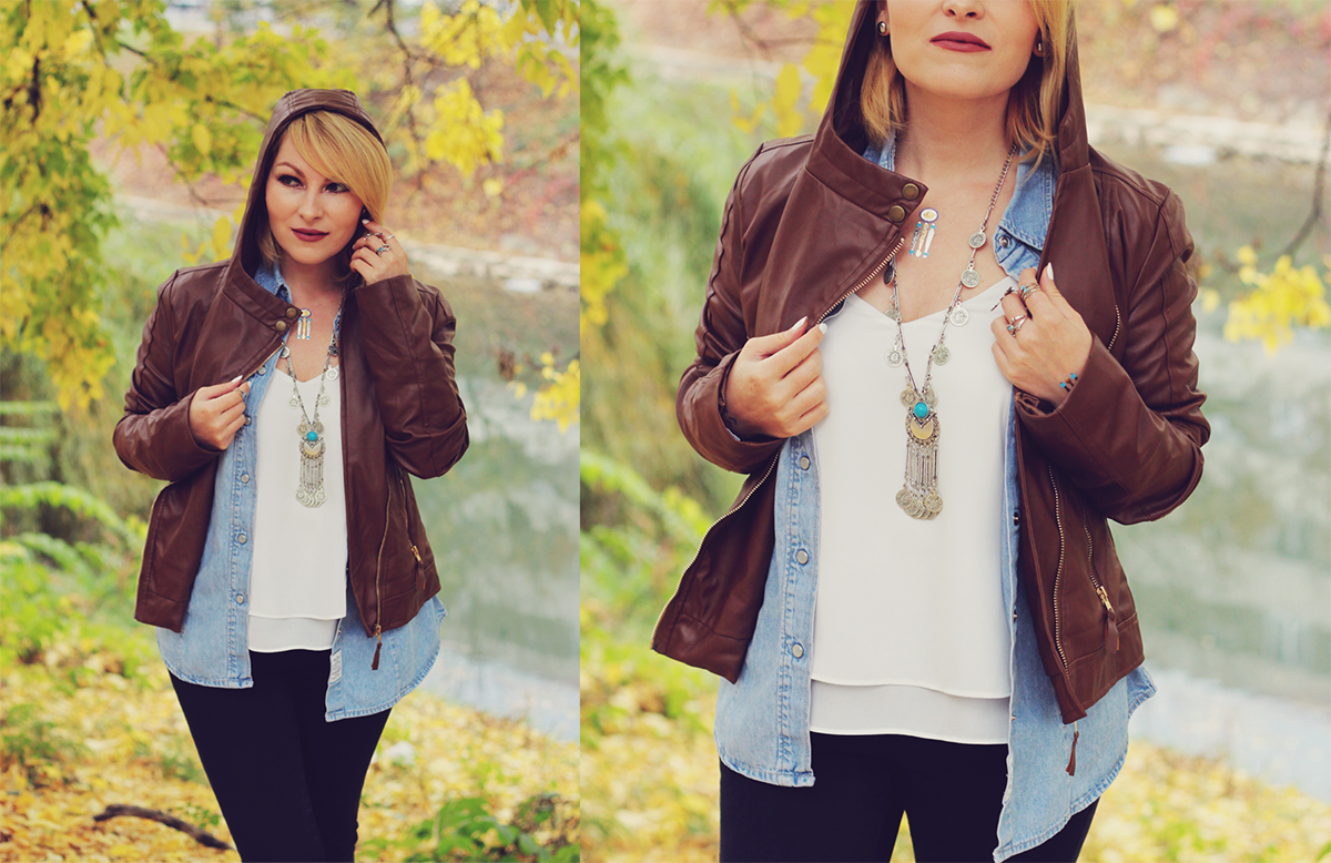 autumn bohemian chic, denim shirt, white top, bohemian necklace, bohemian rings, temporary tattoos, jeans, matte lips, leather jacket