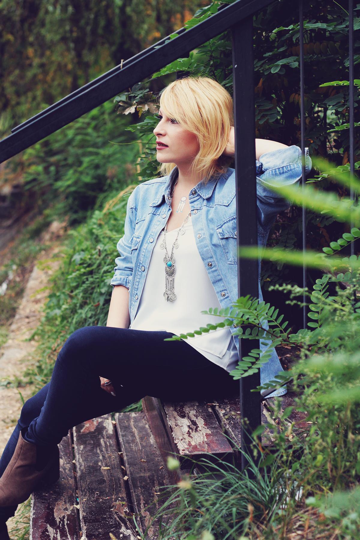 autumn bohemian chic, denim shirt, white top, bohemian necklace, bohemian rings, temporary tattoos, jeans, matte lips, boots