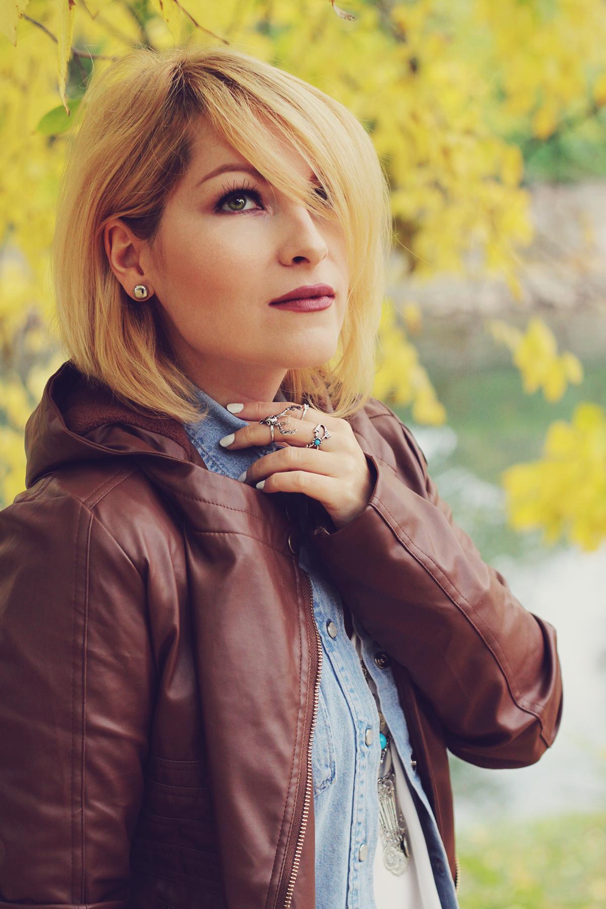 autumn bohemian chic, denim shirt, white top, bohemian necklace, bohemian rings, leather jacket, matte lips