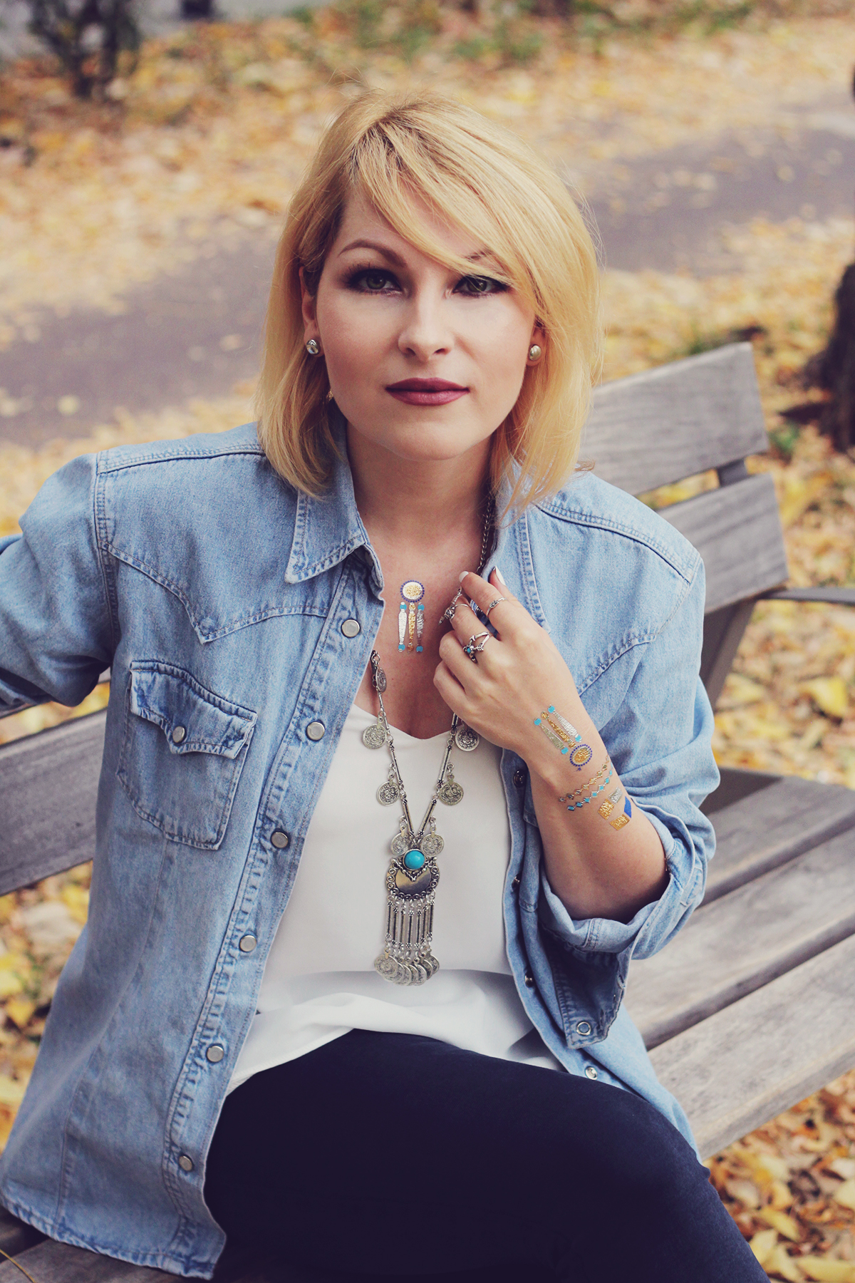 autumn bohemian chic, denim shirt, white top, bohemian necklace, bohemian rings, temporary tattoos, jeans, matte lips
