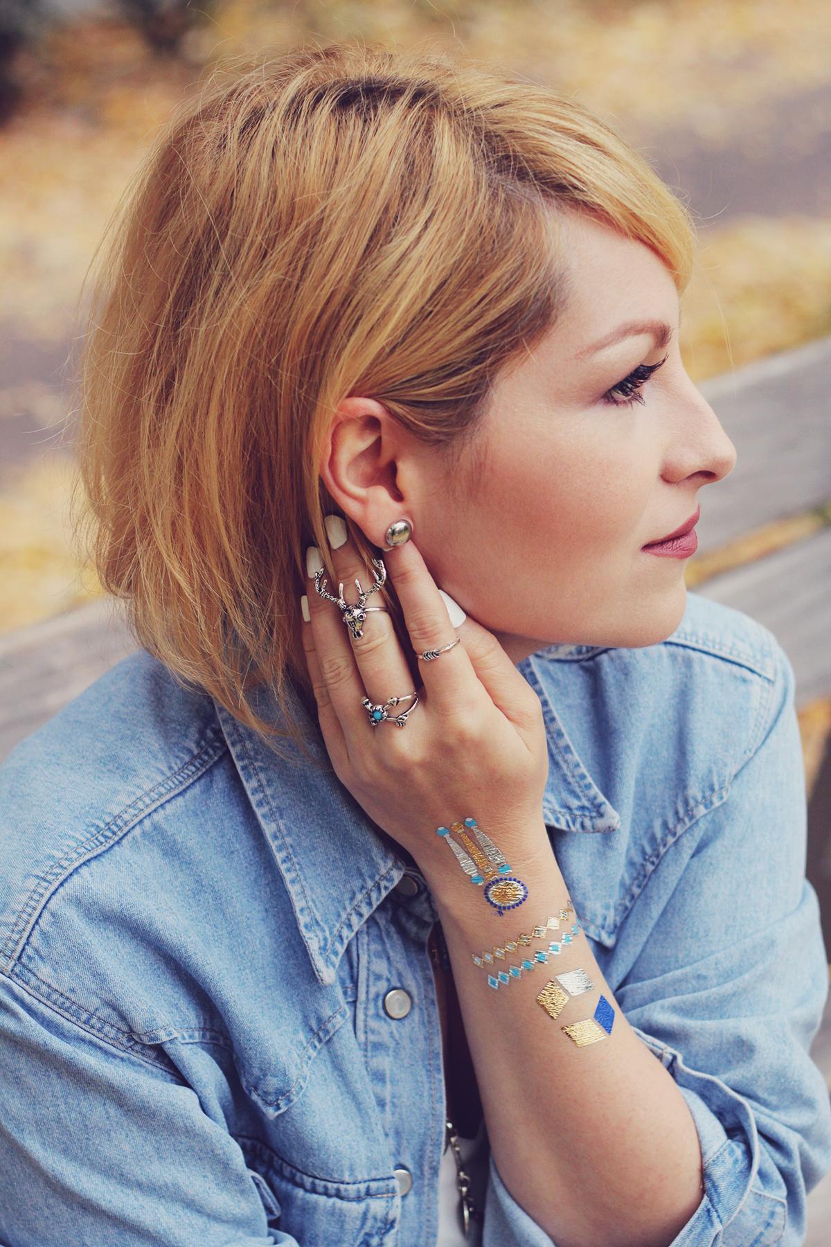 autumn bohemian chic, denim shirt, white top, bohemian necklace, bohemian rings, temporary tattoos, matte lips