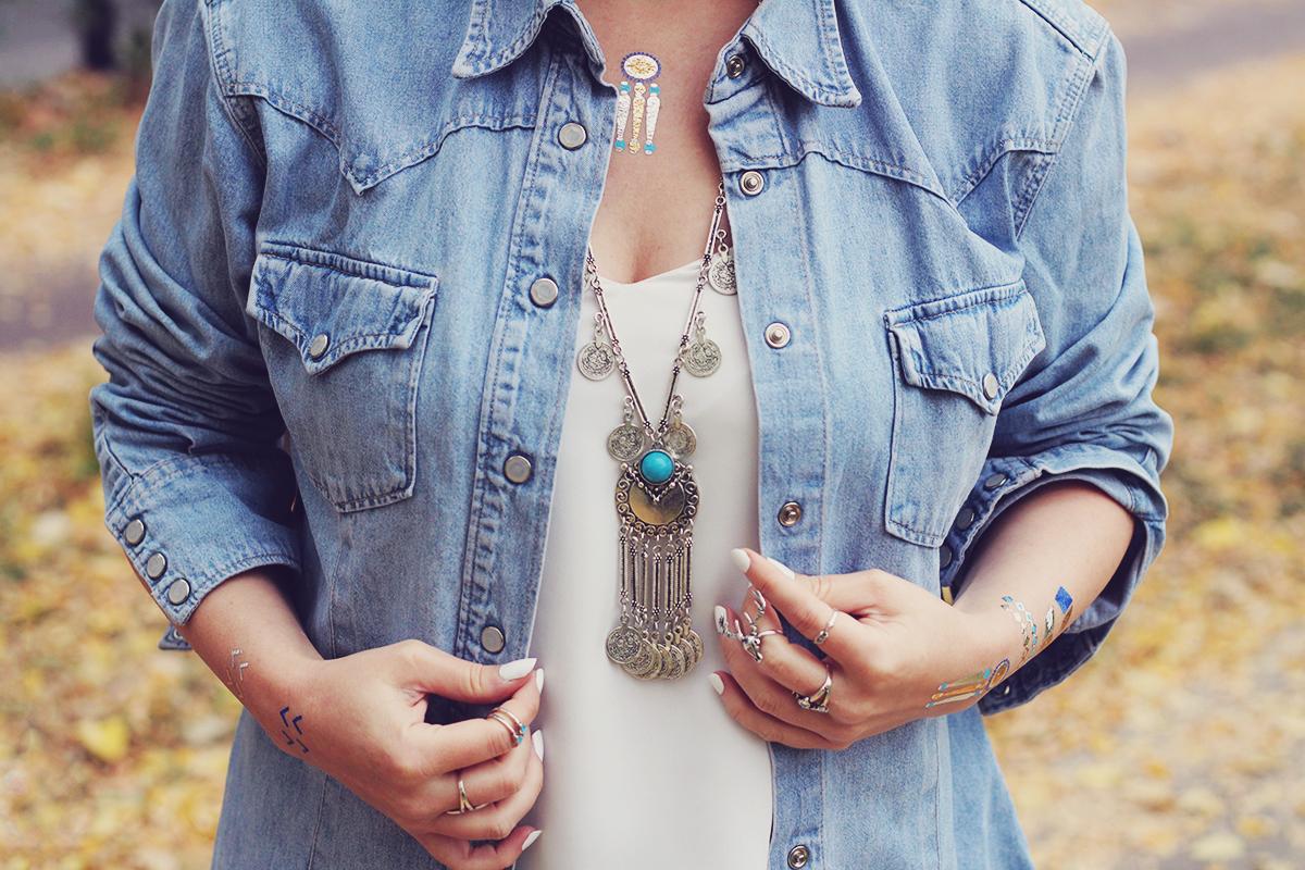 autumn bohemian chic, denim shirt, white top, bohemian necklace, bohemian rings, temporary tattoos